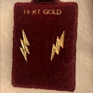 Jewelry - 14K Gold Lightning Bolt Earrings
